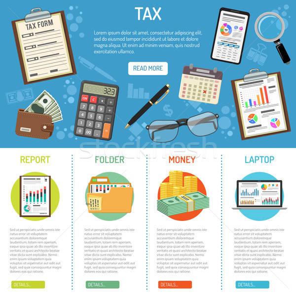 Fiscali business contabili infografica banner stile Foto d'archivio © -TAlex-