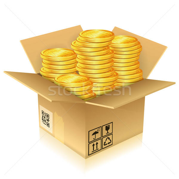 Cardboard Box with Gold Coins Stock photo © -TAlex-