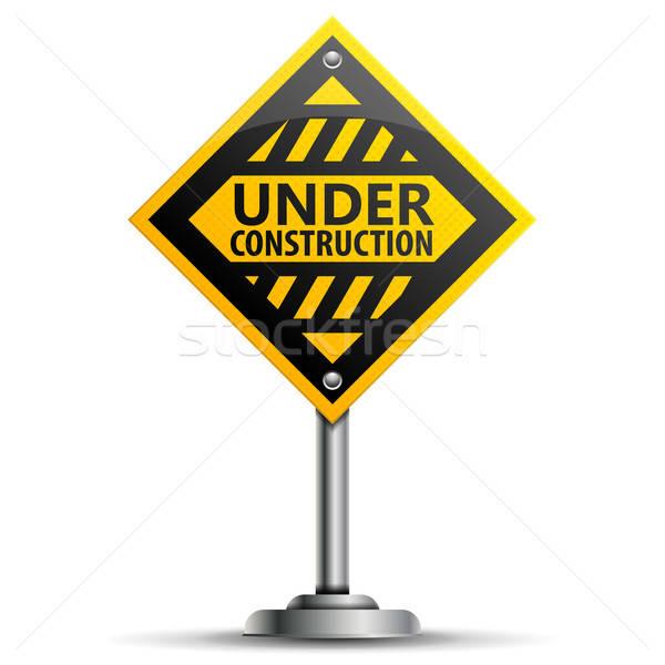 полюс строительство знак предупреждение дорожный знак изолированный Сток-фото © -TAlex-