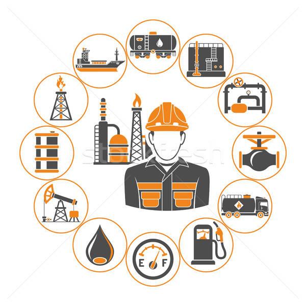 Przemysł naftowy produkcji transport oleju benzyny dwa Zdjęcia stock © -TAlex-