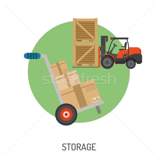 Stockage livraison icônes détaillée ecommerce panier Photo stock © -TAlex-