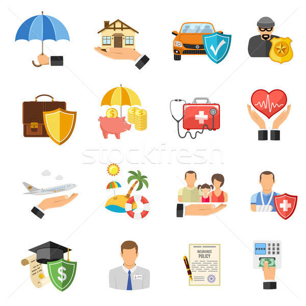 Insurance Flat Icons Set Stock photo © -TAlex-