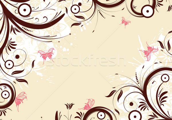 Stock fotó: Virágmintás · grunge · pillangó · alkotóelem · terv · textúra