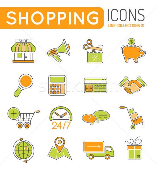 Online alışveriş ince hatları renk web simgesi ayarlamak Stok fotoğraf © -TAlex-