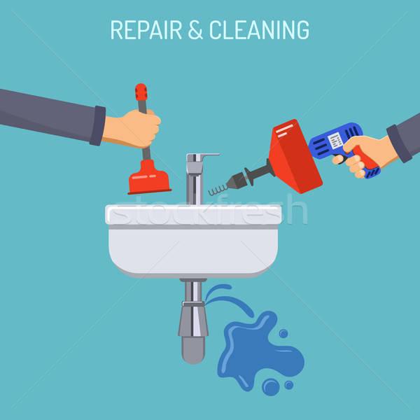 Sanitair dienst reparatie schoonmaken wastafel Stockfoto © -TAlex-