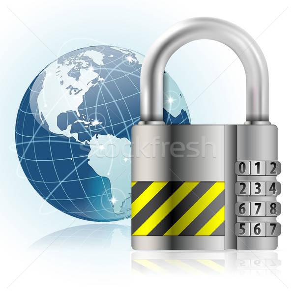 Kłódki bezpieczeństwa działalności świat technologii ziemi Zdjęcia stock © -TAlex-