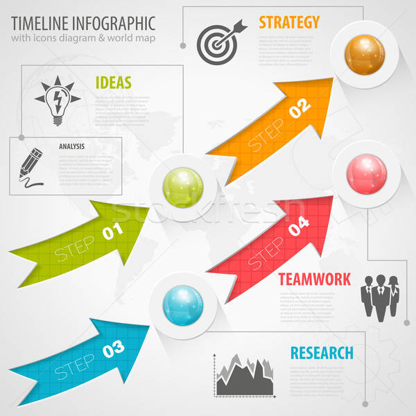 Business pijlen iconen aantal Stockfoto © -TAlex-