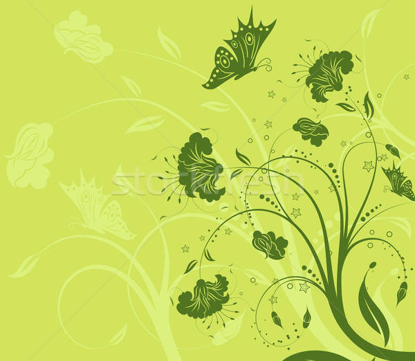 Flower background with butterfly Stock photo © -TAlex-