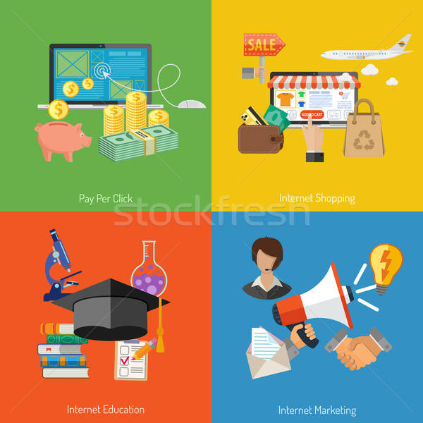 Stock photo: Set Banners of Online Internet Technology