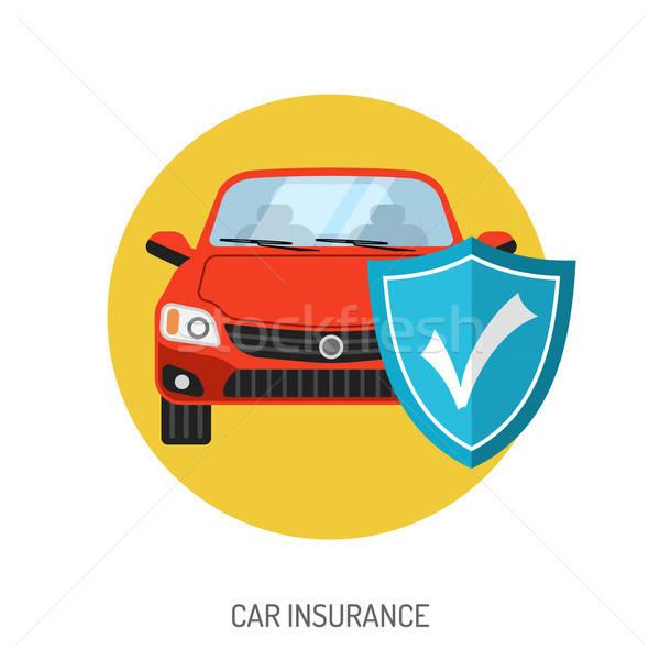 Autó biztosítás ikon weboldal hirdetés pajzs Stock fotó © -TAlex-