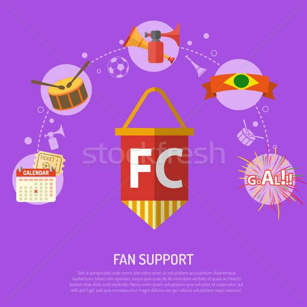 Football fan soutien icônes billet objectif Photo stock © -TAlex-