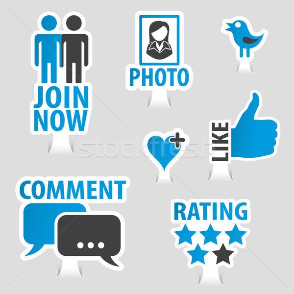 Set Social Media Sticker Icons Stock photo © -TAlex-