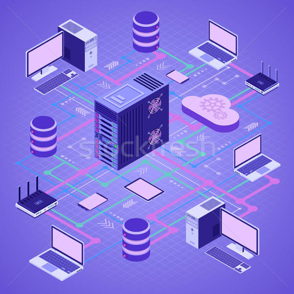 Gegevens netwerk technologie isometrische Stockfoto © -TAlex-