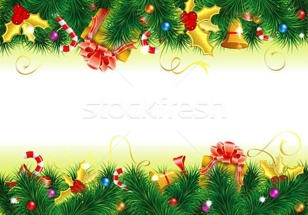Сток-фото: Рождества · кадр · конфеты · ель · омела · белая