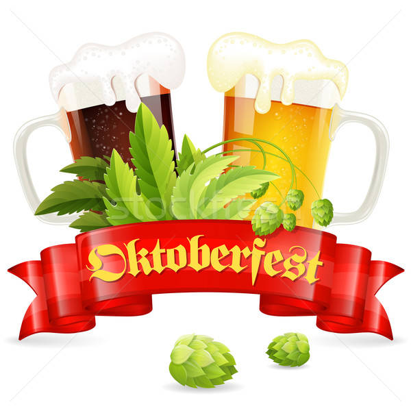 Oktoberfest Plakat hop Gläser Bier Stock foto © -TAlex-