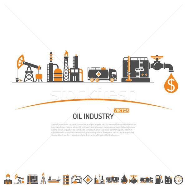 Olie-industrie twee kleur iconen productie vervoer Stockfoto © -TAlex-