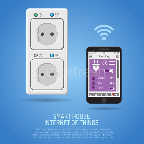 Puce maison internet choses smartphone maison Photo stock © -TAlex-