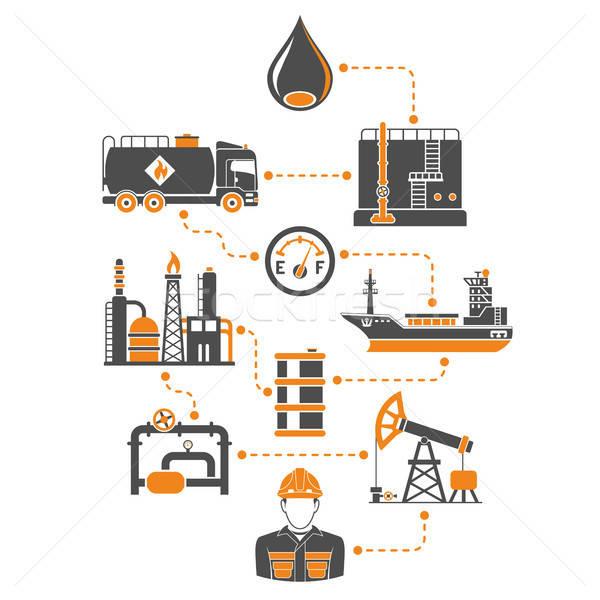 Olie-industrie infographics twee kleur iconen productie Stockfoto © -TAlex-