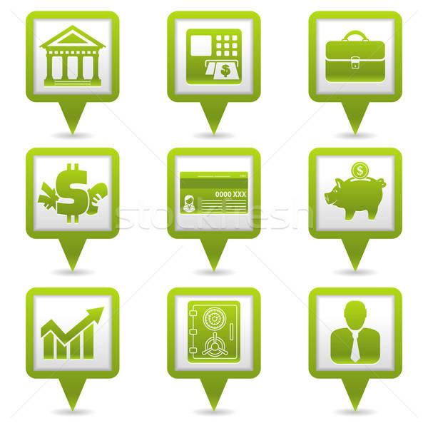 Financieros mapa establecer negocios iconos web Foto stock © -TAlex-