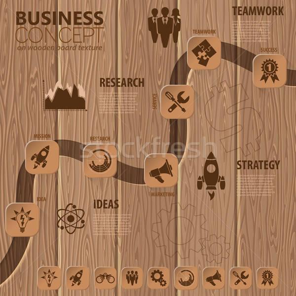 Idővonal infografika üzlet gombok ikonok lépcső Stock fotó © -TAlex-