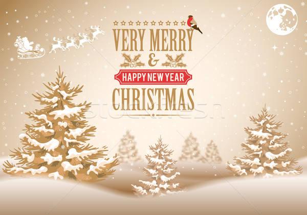 Foto stock: Navidad · retro · etiqueta · árbol · vector