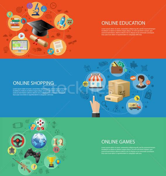 Set Banners of Online Internet Technology Stock photo © -TAlex-
