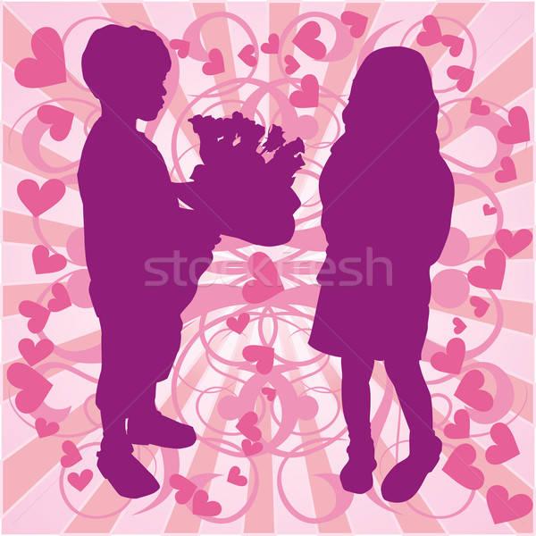 Sziluett fiú lány szeretet illusztráció virágok Stock fotó © -TAlex-