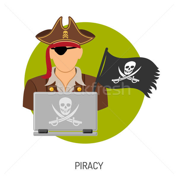 Piraterij piraat icon vector iconen flyer Stockfoto © -TAlex-