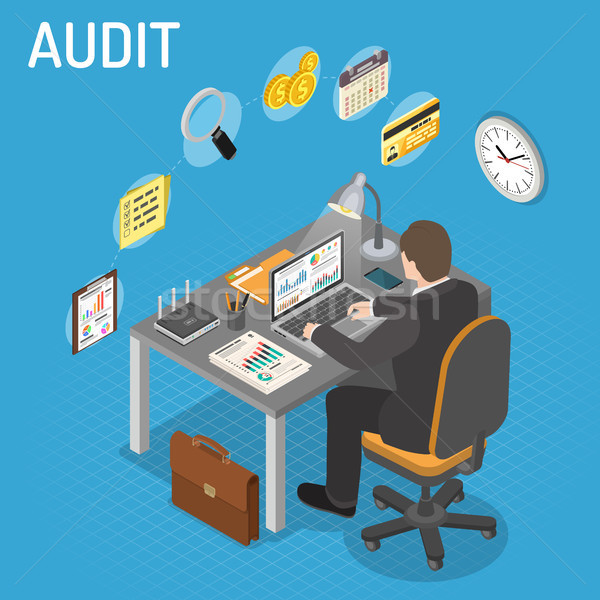 Imposto processo contabilidade isométrica auditor laptop Foto stock © -TAlex-