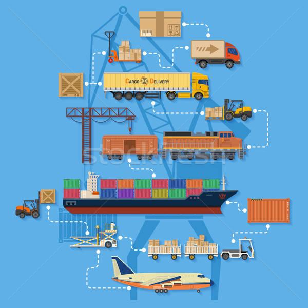 Freight Transport and Logistics Infographics Stock photo © -TAlex-