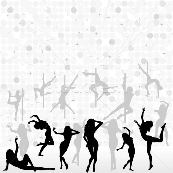 Dansen silhouetten groot vrouwen abstract element Stockfoto © -TAlex-