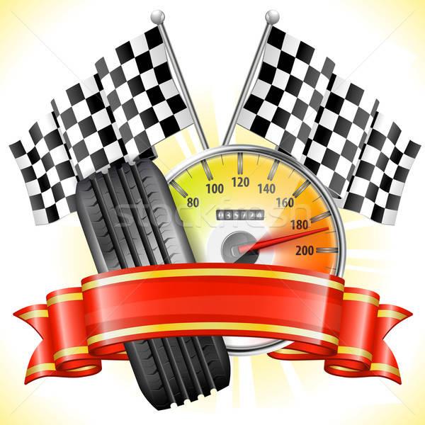 Stockfoto: Racing · snelheidsmeter · vlaggen · band · lint · auto