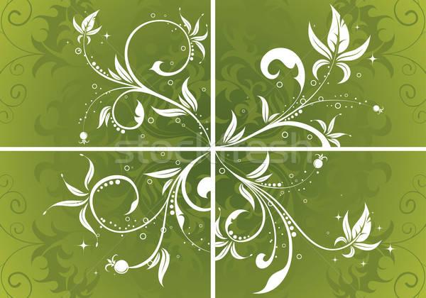 Virágmintás négy alkotóelem terv absztrakt háttér Stock fotó © -TAlex-