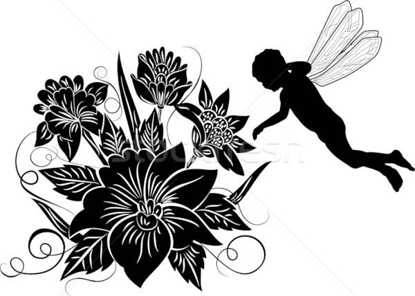 Element for design, flower with silhouette elf, illustration Stock photo © -TAlex-