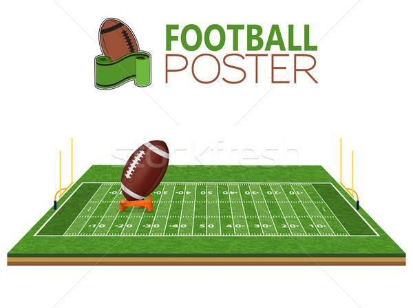 Amerikai futballpálya valósághű labda gól vonal Stock fotó © -TAlex-