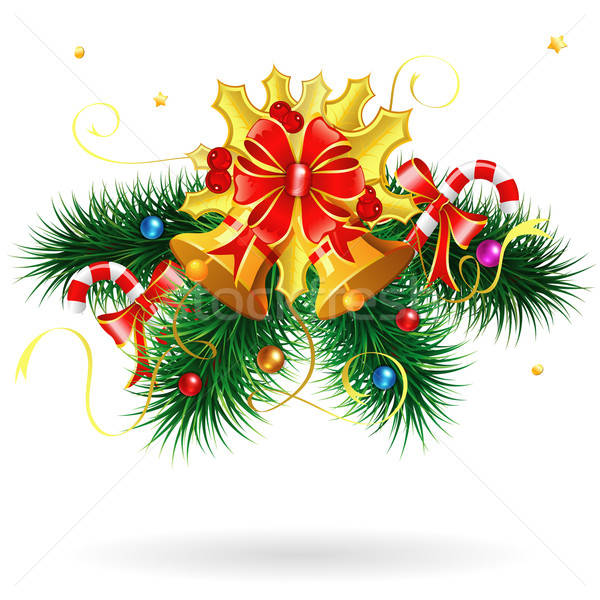 Karácsony harang fenyő ágak cukorka izolált Stock fotó © -TAlex-