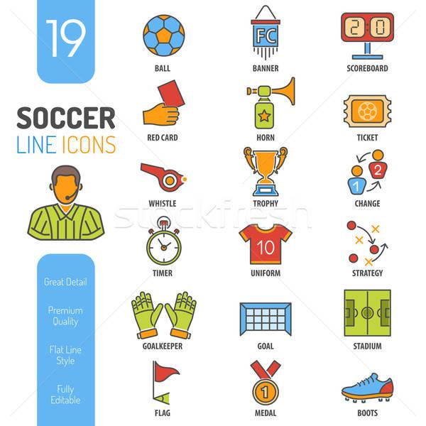 Futbol ince hatları renk web simgesi ayarlamak Stok fotoğraf © -TAlex-