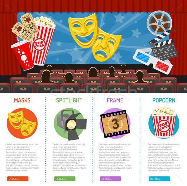Cinema film infografica auditorium icone pubblico Foto d'archivio © -TAlex-