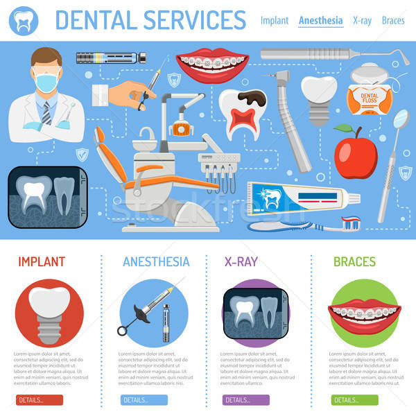 Dental Services banner and infographics Stock photo © -TAlex-