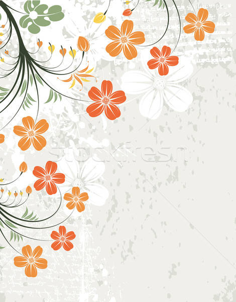 Virágmintás keret grunge dekoratív rügy alkotóelem Stock fotó © -TAlex-