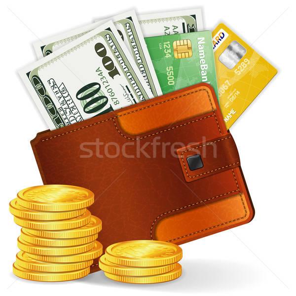 Pénztárca dollár hitelkártyák érmék bőr pénztárca Stock fotó © -TAlex-
