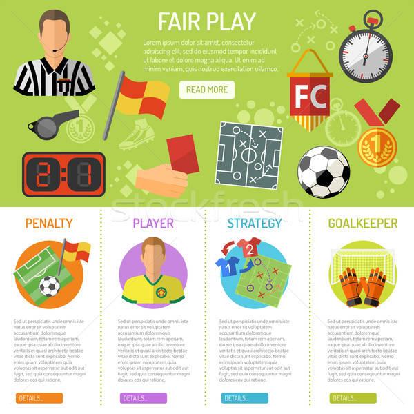 Fußball Banner Infografiken Symbole Strafe Spieler Stock foto © -TAlex-