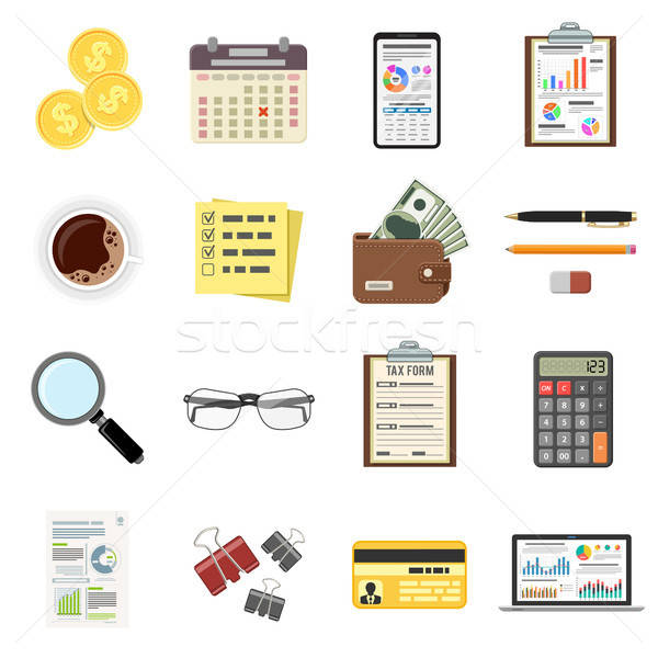 Set Auditing, Tax Process, Accounting Icons Stock photo © -TAlex-