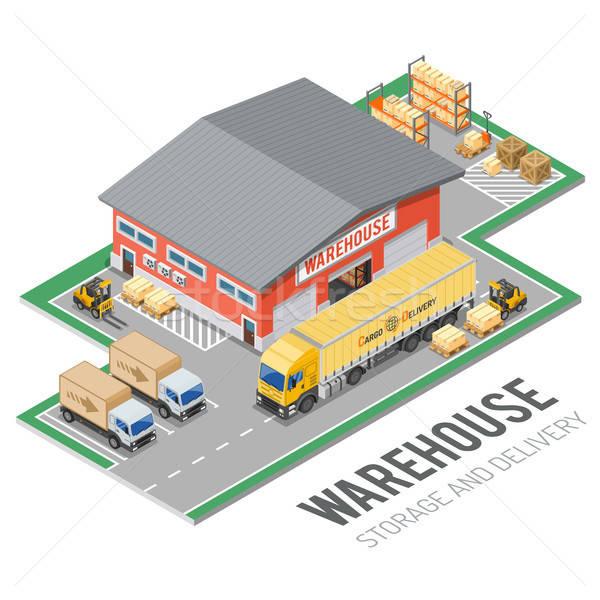 Magazzino stoccaggio consegna isometrica logistica camion Foto d'archivio © -TAlex-