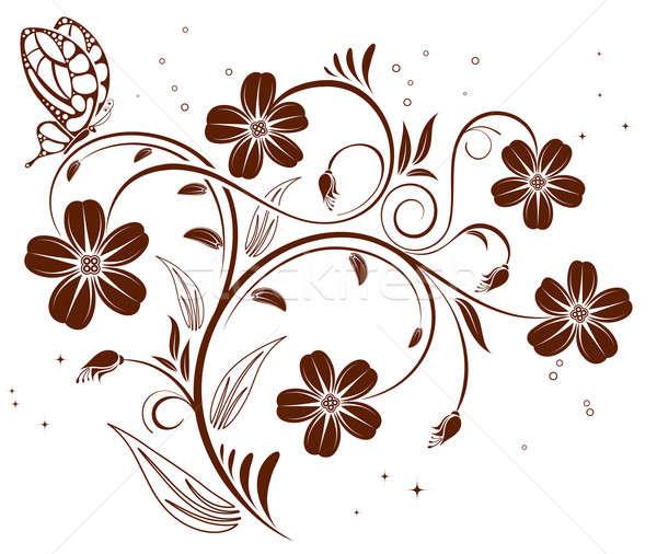 Virág pillangó alkotóelem terv absztrakt természet Stock fotó © -TAlex-