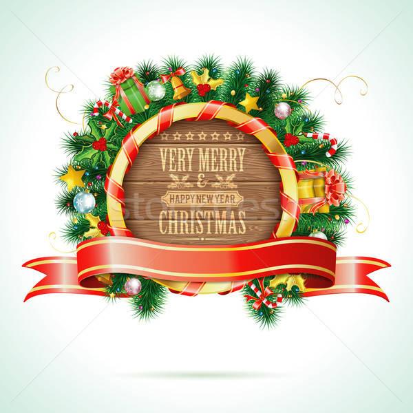 Natale ghirlanda decorativo nastro candy legno Foto d'archivio © -TAlex-