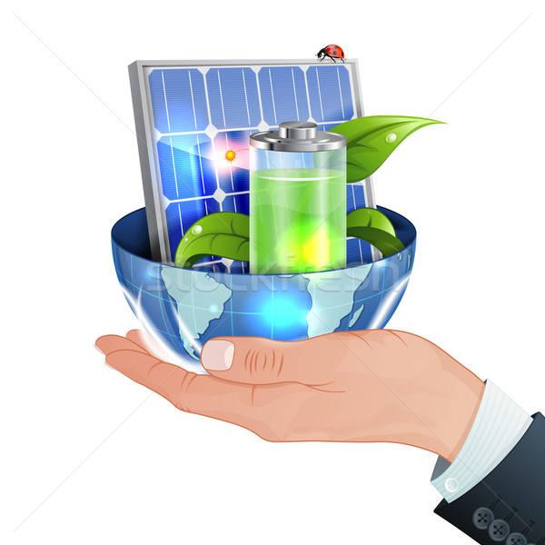 Stockfoto: Groene · energie · hand · zonnepaneel · jonge · groene · spruit