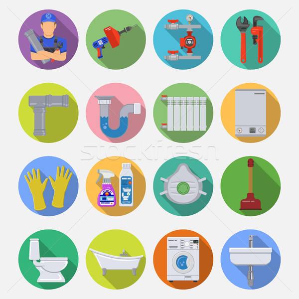 Sanitair dienst lang schaduw cirkel Stockfoto © -TAlex-