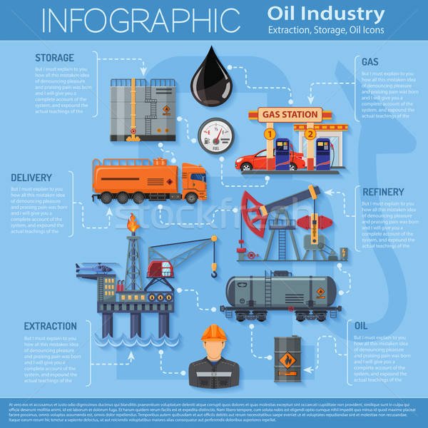 Infographie icônes production transport pétrolières Photo stock © -TAlex-