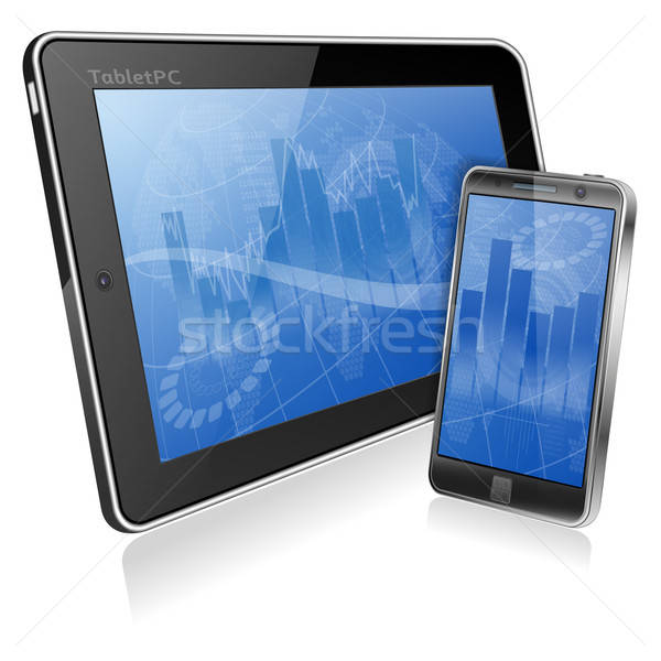 Business abstract scherm smartphone geïsoleerd Stockfoto © -TAlex-
